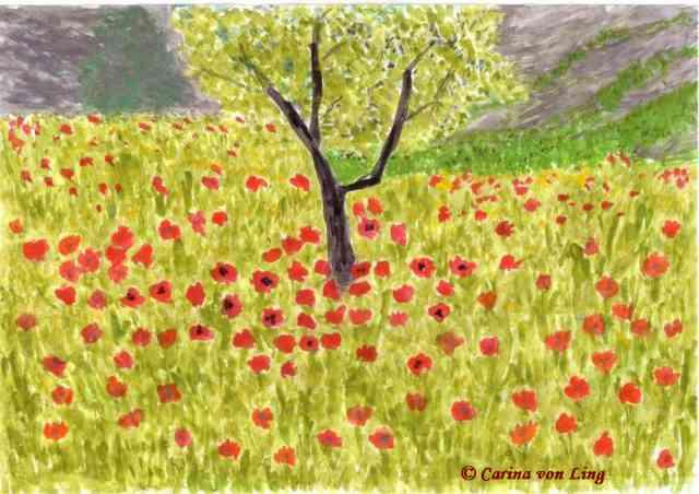Mohnblumenfeld, gemalt von Carina Magic von Ling